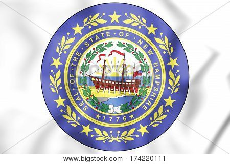 State Seal Of New Hampshire, Usa. 3D Illustration.