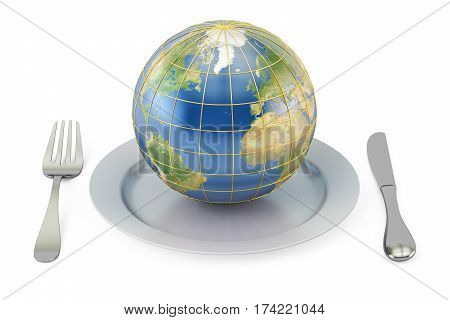 Earth globe on a plate with fork and knife. International cuisine concept 3D rendering isolated on white background