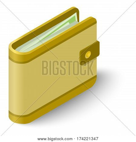 Wallet icon. Isometric illustration of wallet vector icon for web