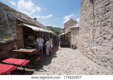 MOSTAR, BOSNIA AND HERZEGOVINA - Circa july 2016: Streets of the town of Mostar, UNESCO heritage