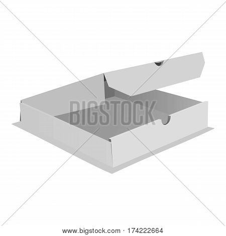 One pizza box icon. Realistic illustration of one pizza box vector icon for web