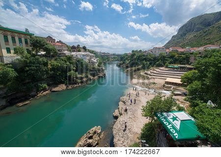 Mostar, Bosnia and Herzegovina, circa july 2016: View from the mosque in Mostar, Bosnia and Herzegovina