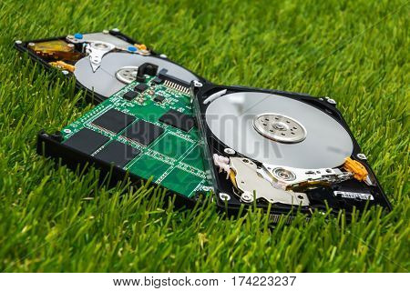 new SSD between two old HDD to the green grass