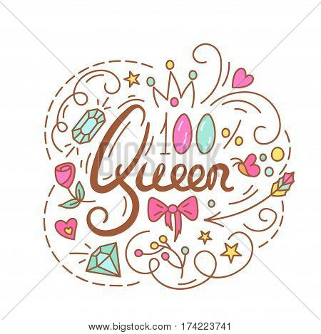 Queen text. The roses and diamond. Cute Print for Little Princess with lettering
