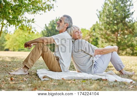 Relaxed senior couple taking a break in the nature in summer
