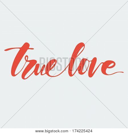 True love hand written words to printable wall art, positive poster, home decoration, greeting card, calligraphy vector illustration