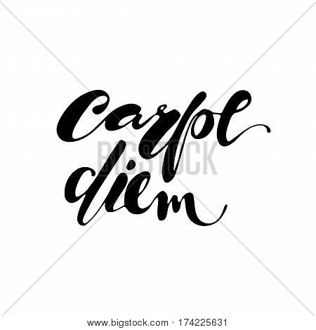 Carpe Diem hand written lettering positive quote inspirational latin phrase to printable wall art, positive poster, home decoration, greeting card, calligraphy vector illustration