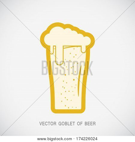 Vector isolated yellow icon with goblet of beer on the gradient gray background.