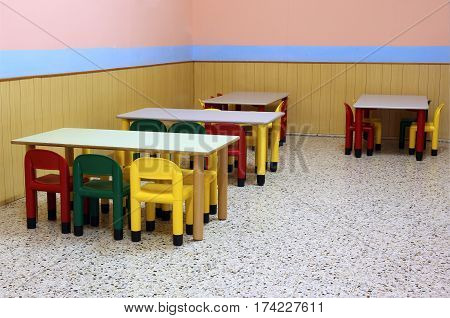 Colored Benches And Seats Of A Class Of A  Preschool