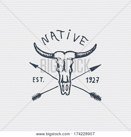 vintage engraved badge, label with buffalo skull, hand drawn old logo.