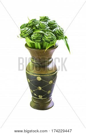 Pandanus amaryllifolius leaves in wooden vase isolated on white with clipping path