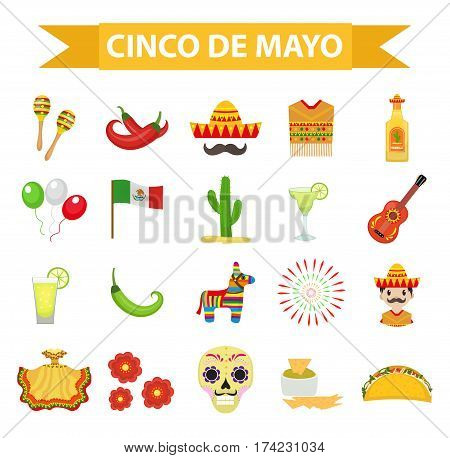 Cinco de Mayo celebration in Mexico, icons set design element, flat style.Collection objects for Cinco de Mayo parade with pinata, food, sambrero, tequila, cactus, flag. Vector illustration, clip art