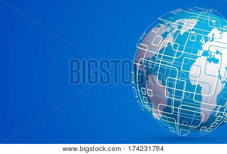Vector modern techology concept background. global world backdrop
