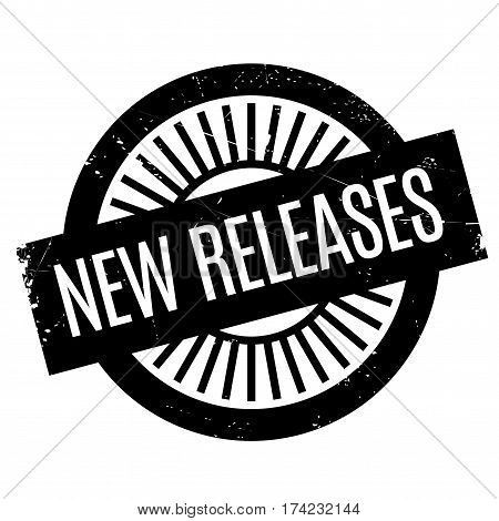New Releases rubber stamp. Grunge design with dust scratches. Effects can be easily removed for a clean, crisp look. Color is easily changed.