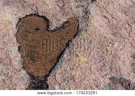 Heart in Stone with copy space to right