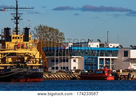 Yellow icebreaker moored at the port of Riga Europe