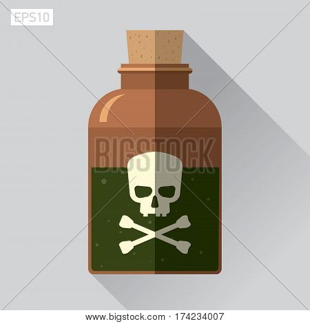 Icon skull in flat style, Jolly Roger, bottle of poison, vector design element for you project