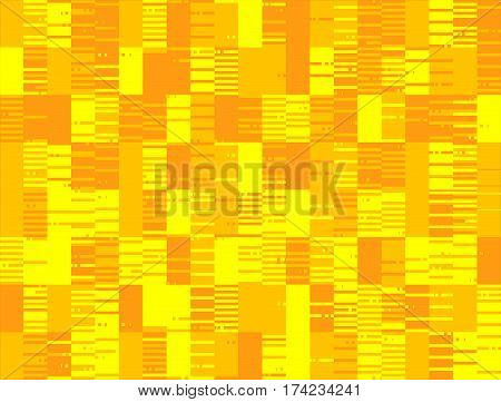 Gold abstract seamless stroke pixel degraded background. Vector motion pattern from mixed strokes and rectangles