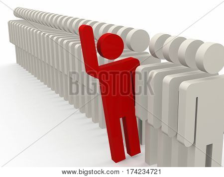 Unique Red Person Stepping Out From Row Of People