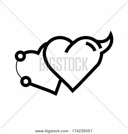 Love Heart Devil Pen tool Style vector design support eps10.