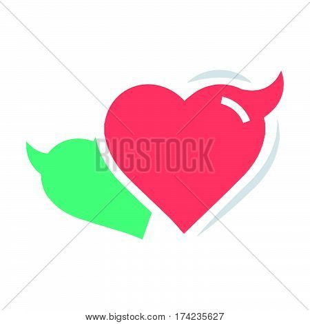 Two Heart of Devil love red and green color