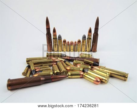 Different size and type of ammo rounds.