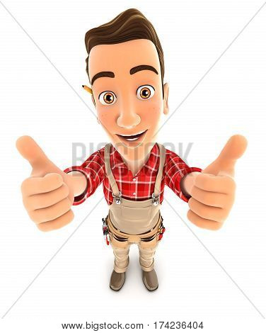 3d handyman thumbs up illustration with isolated white background