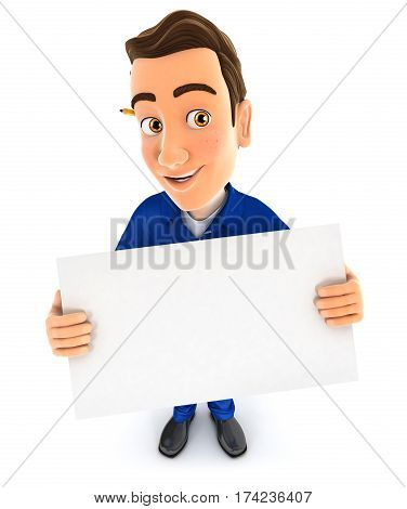 3d mechanic holding a billboard illustration with isolated white background