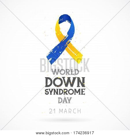 World Down Syndrome Day. 21 March. Lettering. Vector illustration on white background. Blue and yellow ribbon. Health concept.