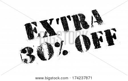 Extra 30 percent Off rubber stamp. Grunge design with dust scratches. Effects can be easily removed for a clean, crisp look. Color is easily changed.