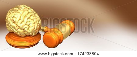 Brain Legal Gavel Concept 3D Illustration