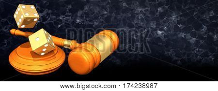 Dice Tumbling Legal Gavel Concept 3D Illustration