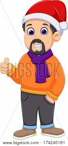 cute man cartoon wearing winter clothes thumb up