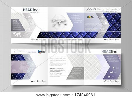 Set of business templates for tri fold square design brochures. Leaflet cover, abstract flat layout, easy editable vector. Shiny fabric, rippled texture, white and blue color silk, colorful vintage style background.