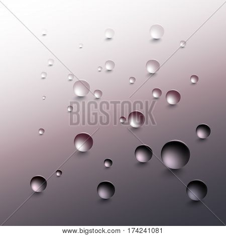 Water drops on a gray background. Round raindrops with shadows on an inclined gray surface. Vector illustration