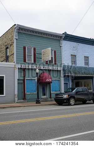 MANCELONA, MICHIGAN / UNITED STATES - NOVEMBER 27, 2016: The site of the Hole in the Wall Cafe, now vacant, on State Street in downtown Mancelona.