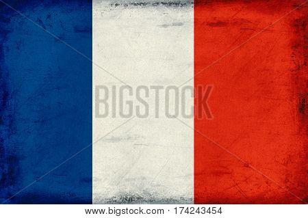 Vintage national flag of France background textured
