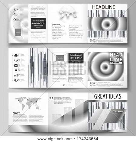 Set of business templates for tri fold square design brochures. Leaflet cover, abstract flat layout, easy editable vector. Simple monochrome geometric pattern. Minimalistic background. Gray color shapes.
