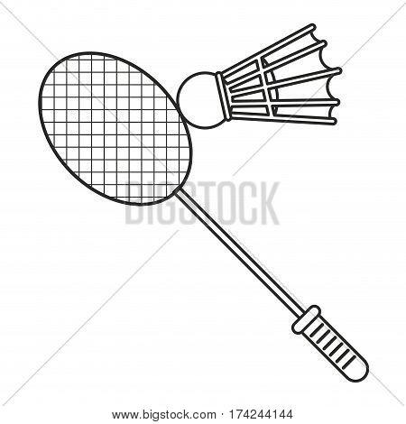 badminton racket shuttlecock sport thin line vector illustration eps 10