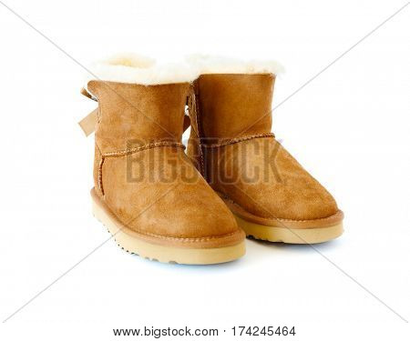 pair of boots with fur