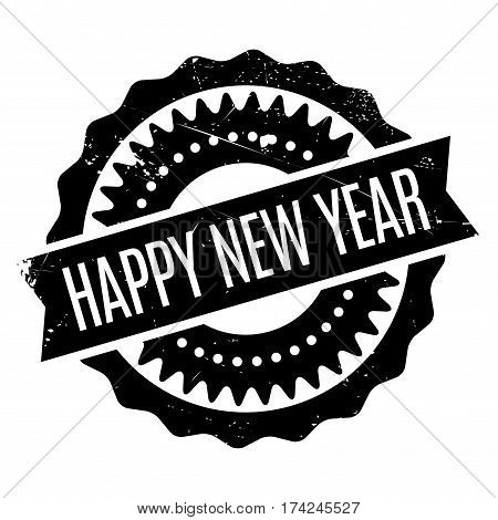 Happy New Year rubber stamp. Grunge design with dust scratches. Effects can be easily removed for a clean, crisp look. Color is easily changed.