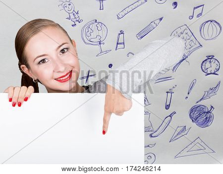 Young woman holding whiteboard with writing word: white form. Technology, internet, business and marketing