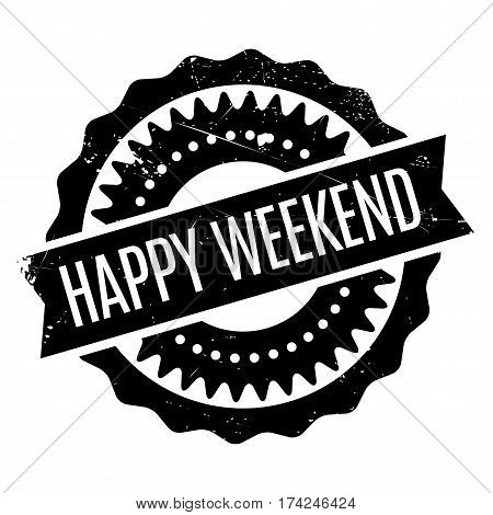 Happy Weekend rubber stamp. Grunge design with dust scratches. Effects can be easily removed for a clean, crisp look. Color is easily changed.