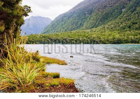 Lake Gunn in the Fiordland National Park on the South Island of New Zealand