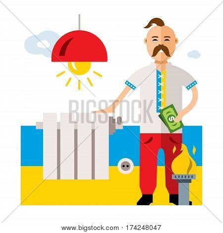 Ukrainian man pays utilities. Isolated on a white background