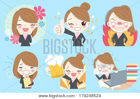 cute cartoon businesswoman do different emotion with blue background