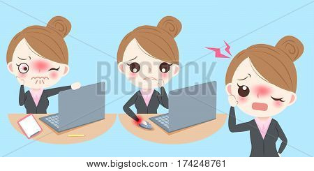 cute cartoon business woman feel pain and upset