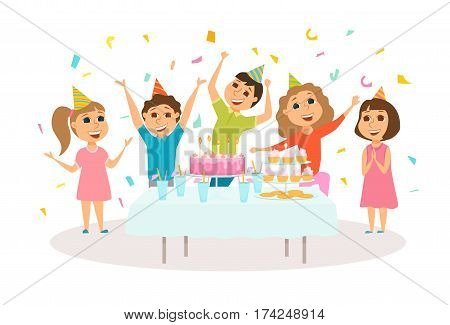 Kids birthday party. Table with cake and dessert. Children celebrate. Friends in hat dancing, jumping and laughing together. Group of happy girl and boy have fun. Cartoon preschoolers characters