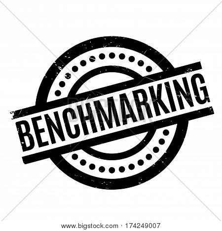 Benchmarking rubber stamp. Grunge design with dust scratches. Effects can be easily removed for a clean, crisp look. Color is easily changed.