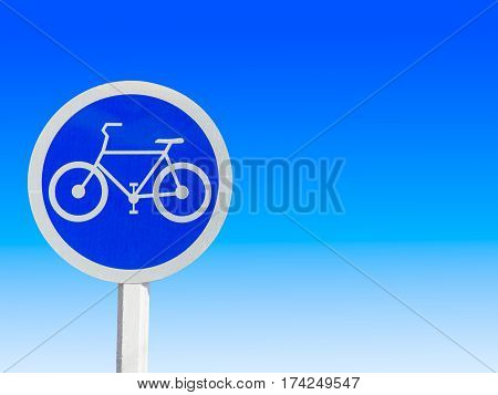 bike lane sign and symbols isolate on gradient blue and white background